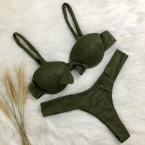 Sexy Bikini en Ante con Relleno y Aro + Brasileño de Talle Bajo