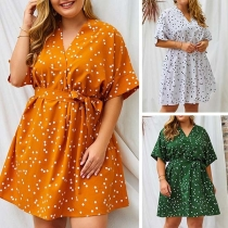 Fashion Short Sleeve V-neck Dots Printed Oversized Plus-size Dress