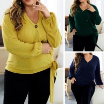 Fashion Solid Color Long Sleeve V-neck Oversized Plus-size Knit Top