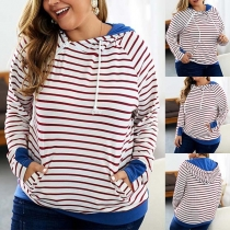Fashion Contrast Color Striped Oversized Plus-size Hoodie