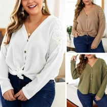 Fashion Lace Spliced Long Sleeve Plus-size Knit Cardigan