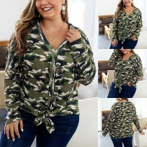 Fashion Camouflage Printed Long Sleeve Plus-size Cardigan