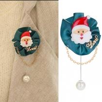 Broche con Colgante de Perlas Sintética en forma de Papá Noel