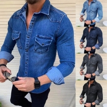 Camiseta Casual Denim de Polo Escote Manga Larga de Caballero