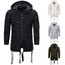 Fashion Solid Color Long Sleeve Hooded Man's Knit Coat
