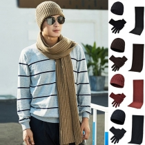 Fashion Solid Color Knit Beanie + Gloves + Scarf Three-piece Set