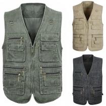 Fashion Sleeveless V-neck Multi-pockets Man's Vest