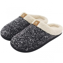 Fashion Mixed Color Plush Lining Anti-slip Slippers