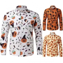 Fashion Long Sleeve POLO Collar Man's Printed Shirt