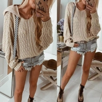 Casual Style Solid Color Drawstring Hooded Knit Sweater