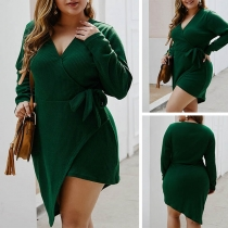 Fashion Solid Color V-neck Irregular Hem Plus-size Knit Dress