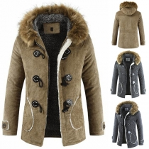 Retro Style Long Sleeve Faux Fur Spliced Hooded Horn Button Man's Coat