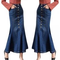 Fashion High Waist Fishtail Hem Denim Skirt