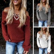 Sexy Off-shoulder Boat Neck Lantern Sleeve Solid Color Sweater