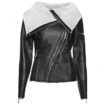 Fashion Plush Lapel Oblique Zipper Slim Fit PU Leather Jacket