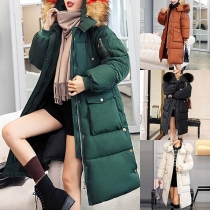 Fashion Solid Color Faux Fur Spliced Hooded Big Pocket Padded Coat