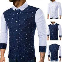 Camisa Casual de Polo Escote con Estampado Manga Larga para Caballero