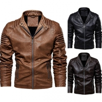 Fashion Long Sleeve Stand Collar Man's PU Leather Jacket