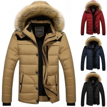 Fashion Solid Color Faux Fur Spliced Hooded Man's Padded Coat