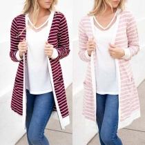 Fashion Long Sleeve Striped Cardigan