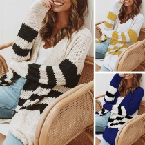 Fashion Contrast Color Long Sleeve Knit Cardigan