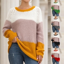 Fashion Contrast Color Long Sleeve Round Neck Loose Sweater