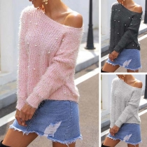 Fashion Solid Color Long Sleeve Round Neck Beaded Sweater