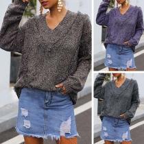Fashion Long Sleeve V-neck Tassel Sweater