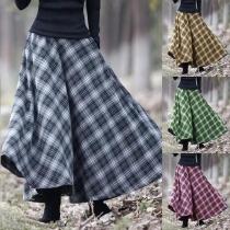 Retro Style High Waist Plaid Skirt