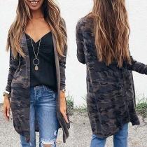 Fashion Camouflage Printed Long Sleeve Cardigan