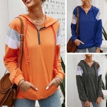 Fashion Contrast Color Long Sleeve Hooded Loose Sweatshirt