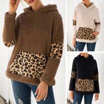 Fashion Leopard Spliced Long Sleeve Hooded Plush Sweatshirt