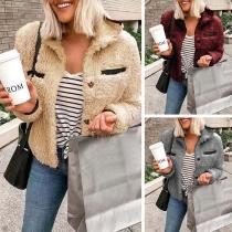 Fashion Solid Color Long Sleeve POLO Collar Plush Coat