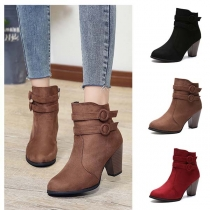 Fashion Thick Heel Round Toe Side-zipper Ankle Boots Booties