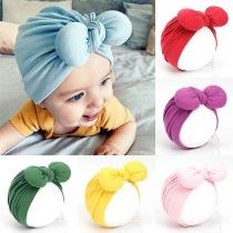 Turbante de Bebé con Nudo de Lazo de Color Sólido