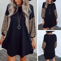 Vestido Casual con Estampado de Leopardo de Manga Larga
