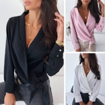 Sexy Deep V-neck Long Sleeve Lace-up Blouse