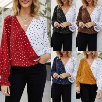 Fashion Contrast Color Dots Printed Long Sleeve V-neck Blouse