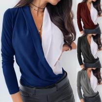 Blusa Suelta de Pico Escote Manga Larga Bicolor