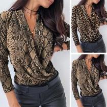 Sexy Blusa de Estampado de Leopardo / Serpentina de Escote en Pico Manga Larga