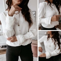 OL Style Trumpet Sleeve Round Neck Solid Color Blouse
