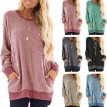 Fashion Contrast Color Long Sleeve Round Neck Loose Sweatshirt