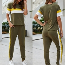 Fashion Contrast Color Short Sleeve T-shirt + Pants Two-piece Set