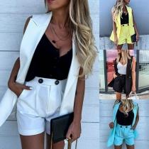 Fashion Solid Color Notched Lapel Vest + High Waist Shorts Two-piece Set
