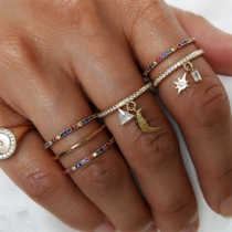 Fashion Rhinestone Inlaid Star Crescent Pendant Ring Set 7 pcs/Set