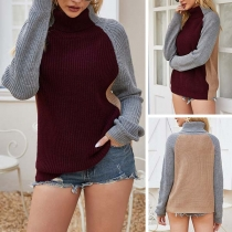 Fashion Contrast Color Long Sleeve Turtleneck Sweater