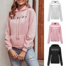 Fashion Letters Printed Long Sleeve Hooded Sweatshirt