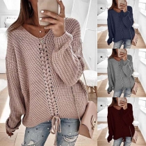 Fashion Solid Color Long Sleeve V-neck Lace-up Sweater