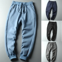Casual Style Solid Color Elastic Waist Man's Sports Pants