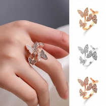 Fashion Rhinestone Inlaid Butterfly Shaped Open Ring